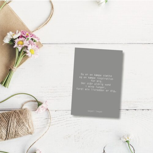 Du er en kæmpe støtte - farvet postkort nørgaardnørgaard