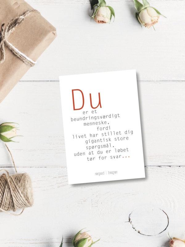 Du er et beundringsvaerdigt postkort NorgaardNorgaard