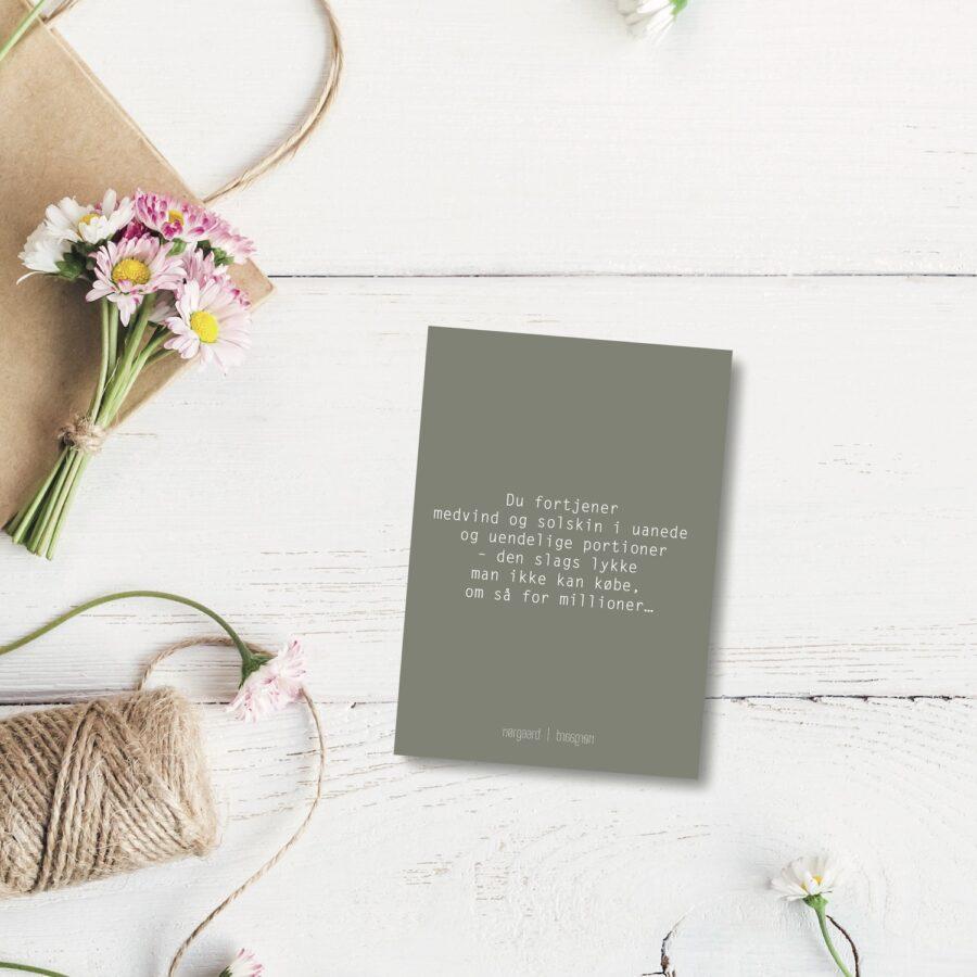 Du fortjener medvind - farvet postkort nørgaardnørgaard