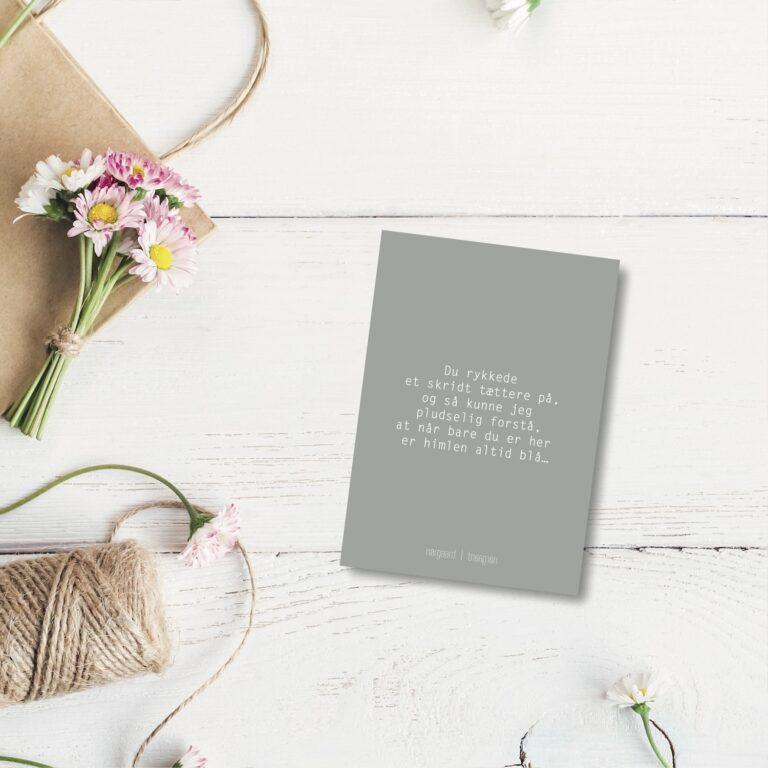 Du rykkede et skridt - farvet postkort nørgaardnørgaard