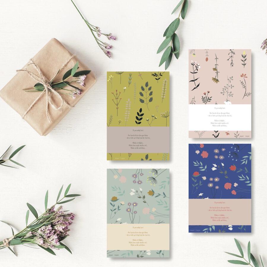 Blomster alle farver - personligt kort NorgaardNorgaard