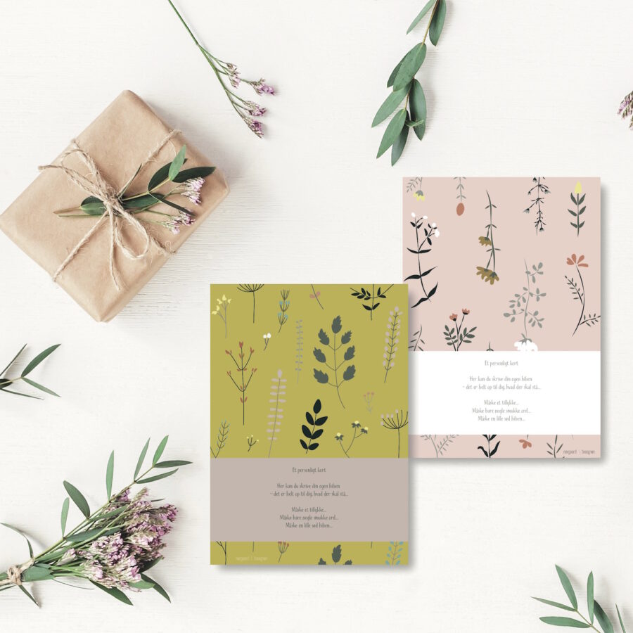 Blomster lyseroed og okker - personligt kort NorgaardNorgaard