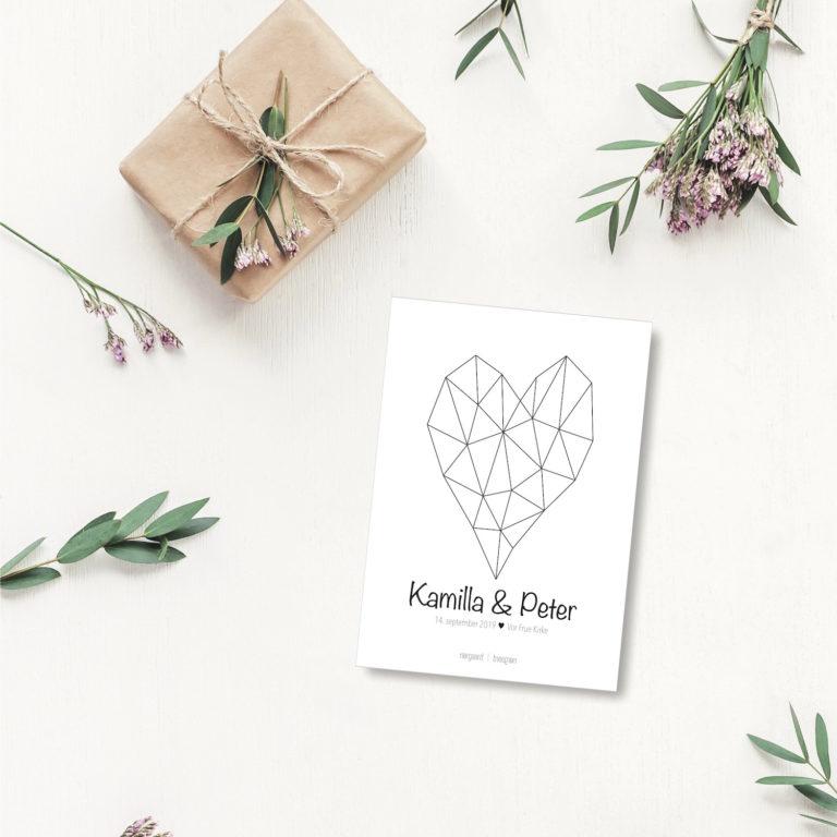Hjertet bryllup - personligt kort NorgaardNorgaard