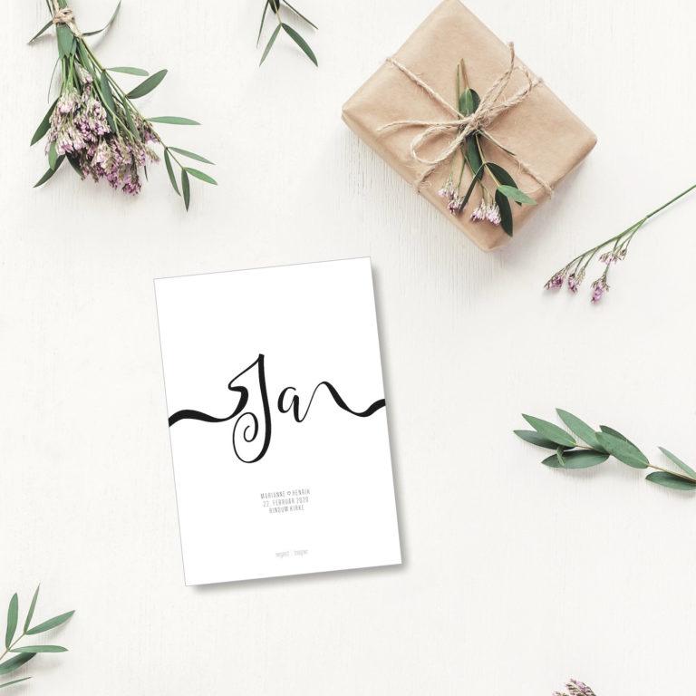Ja bryllup - personligt kort NorgaardNorgaard