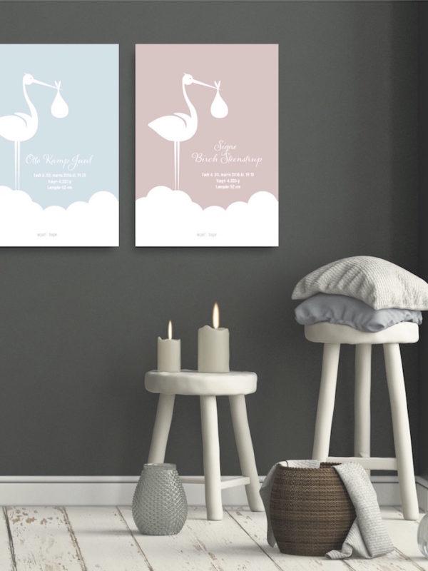 Staaende stork begge web fødselstavle NorgaardNorgaard