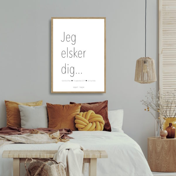 Bryllupsplakat jeg elsker dig orange NorgaardNorgaard