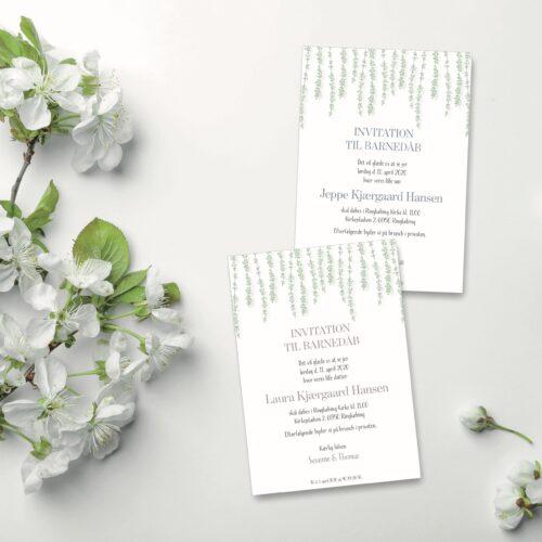 Blomster invitation til barnedaab NorgaardNorgaard
