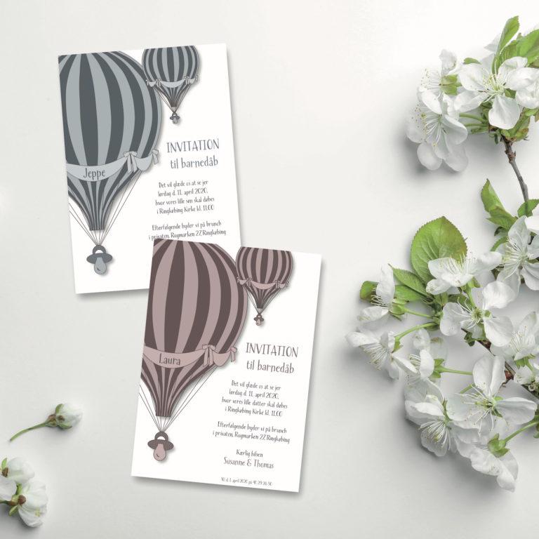 Luftballon invitation til barnedaab NorgaardNorgaard