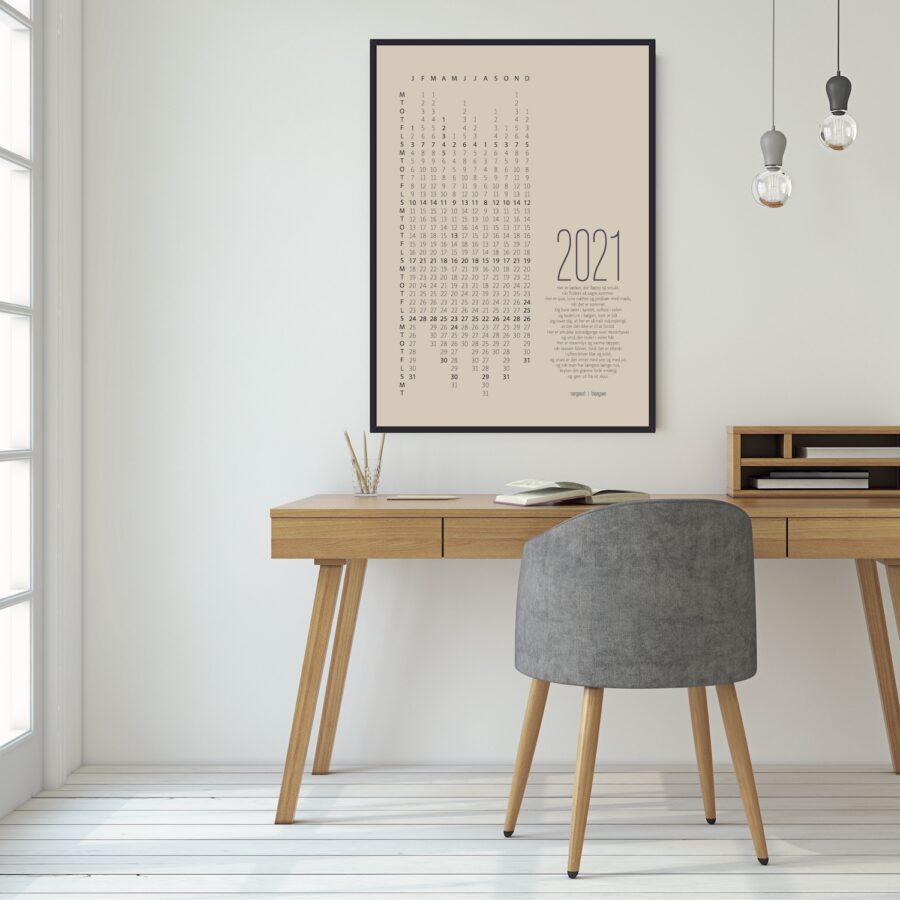 2021 kalender sort ramme plakat NørgaardNørgaard